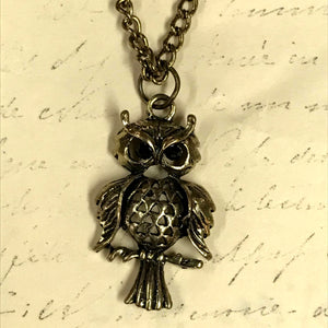 Perched Owl Charm Necklace