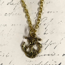 Load image into Gallery viewer, Rope and Anchor Charm Necklace