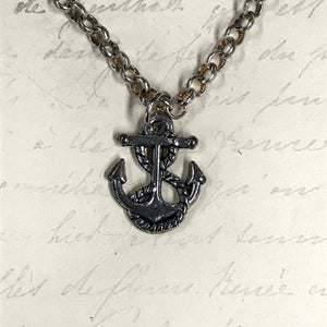 Rope and Anchor Charm Necklace