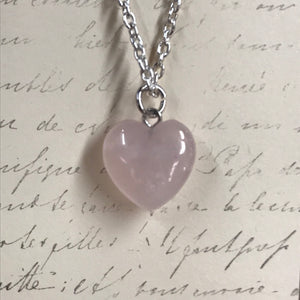 Rose Quartz Heart Charm Necklace