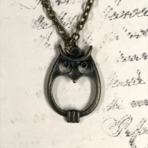 Round Owl Charm Necklace