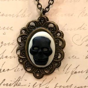 Skull Cameo Charm Necklace