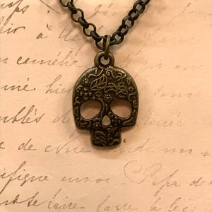 Small Floral Embossed Skull Charm Necklace