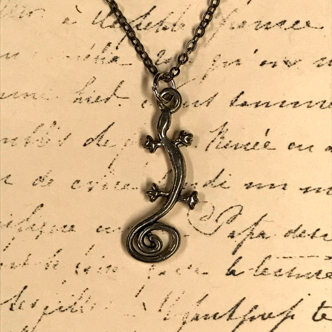 Swirl Tail Lizard Charm Necklace