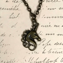Load image into Gallery viewer, Swirly Maned Unicorn Charm Necklace