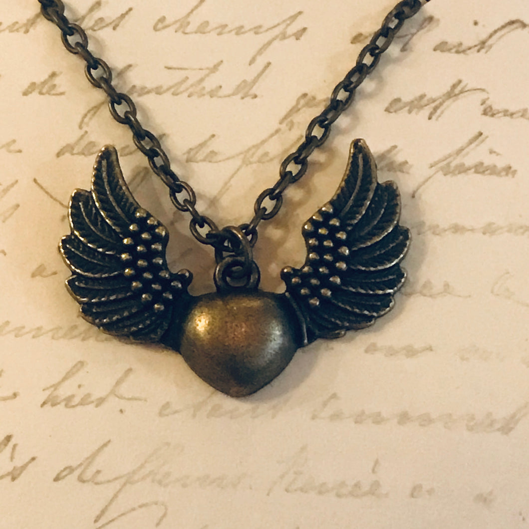 Winged Heart Charm Necklace