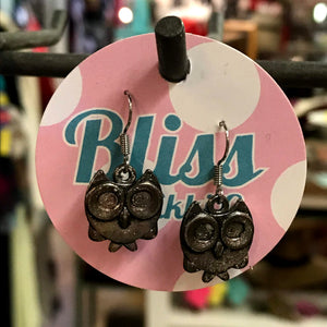 Circles Owl Charm Earrings