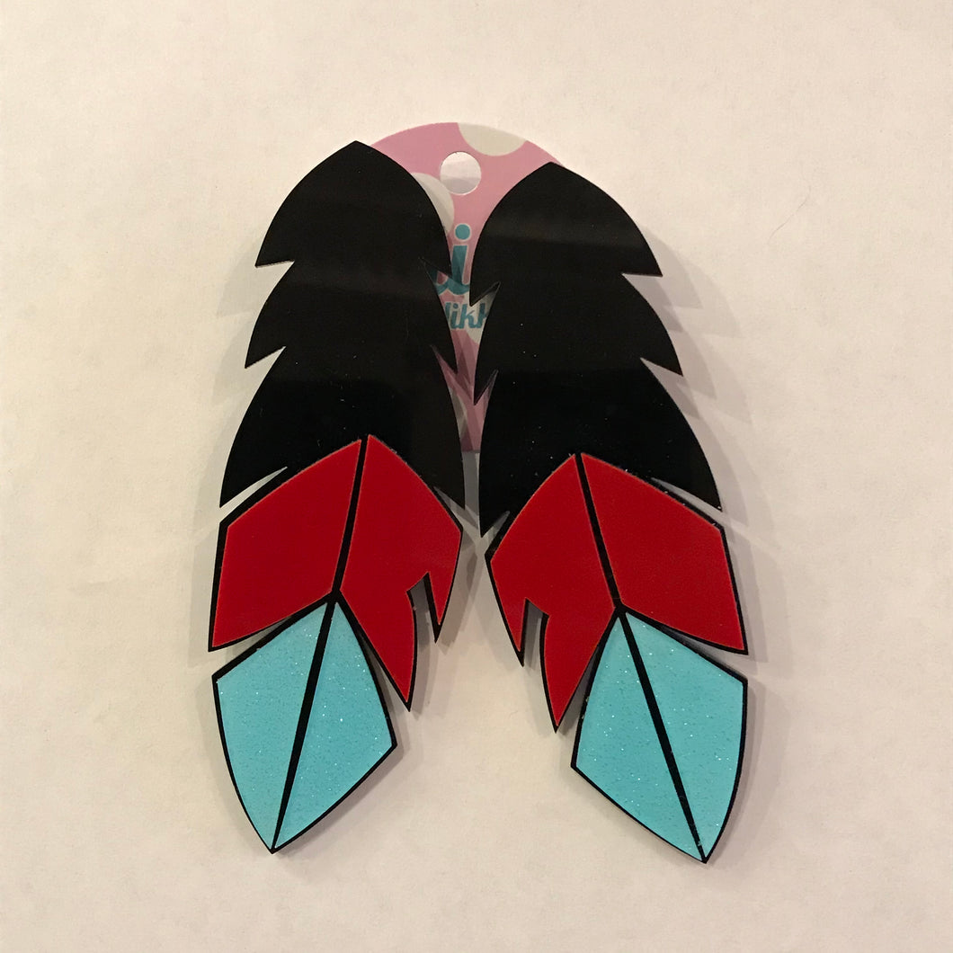 Black Feather Acrylic Statement Earrings