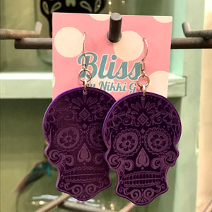 Etched Sugar Skull Acrylic Statement Earrings