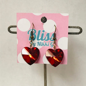 Faceted Heart Charm Earrings