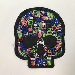 Black Skull with Geometric Pattern Patch
