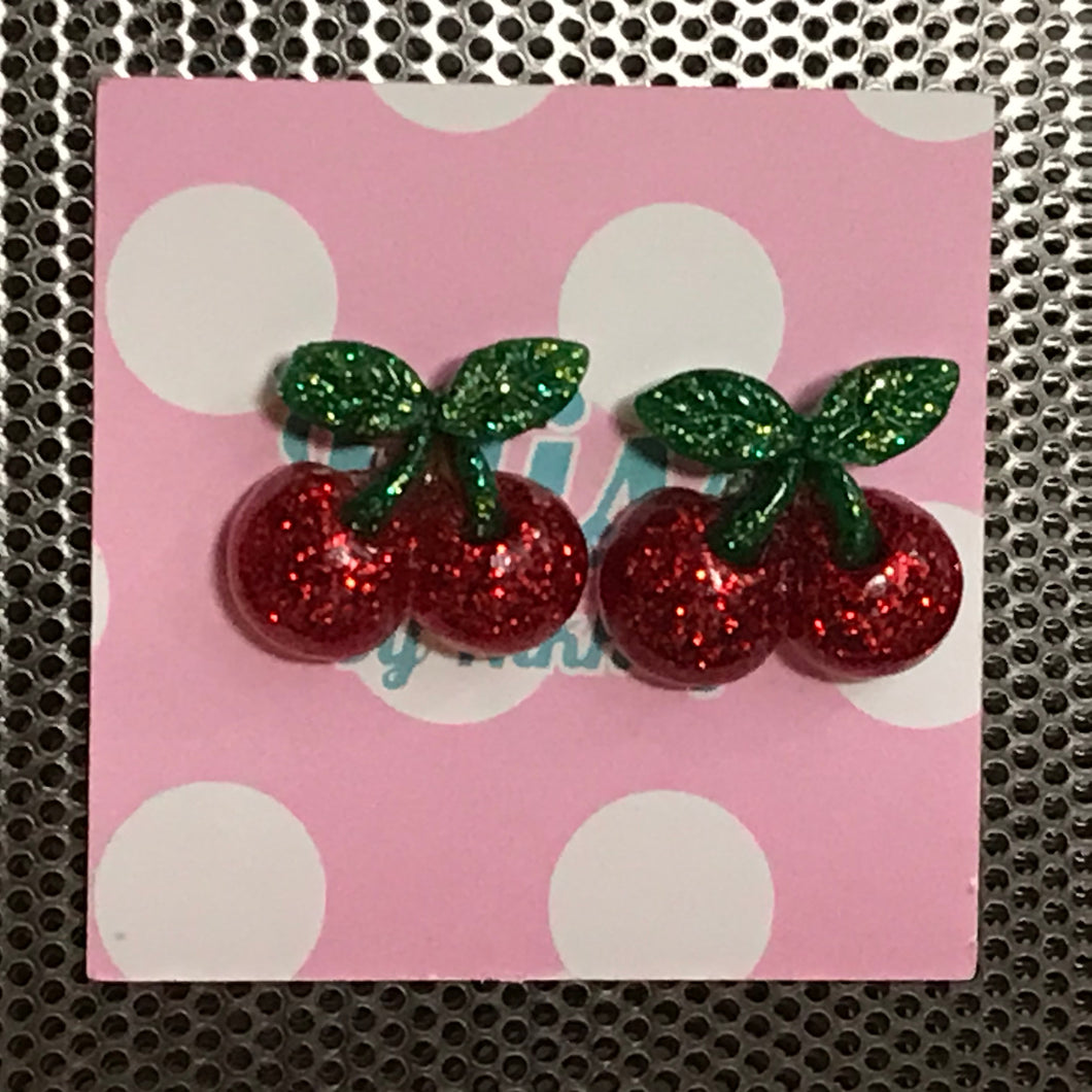 Glitter Resin Cherry Stud Earrings