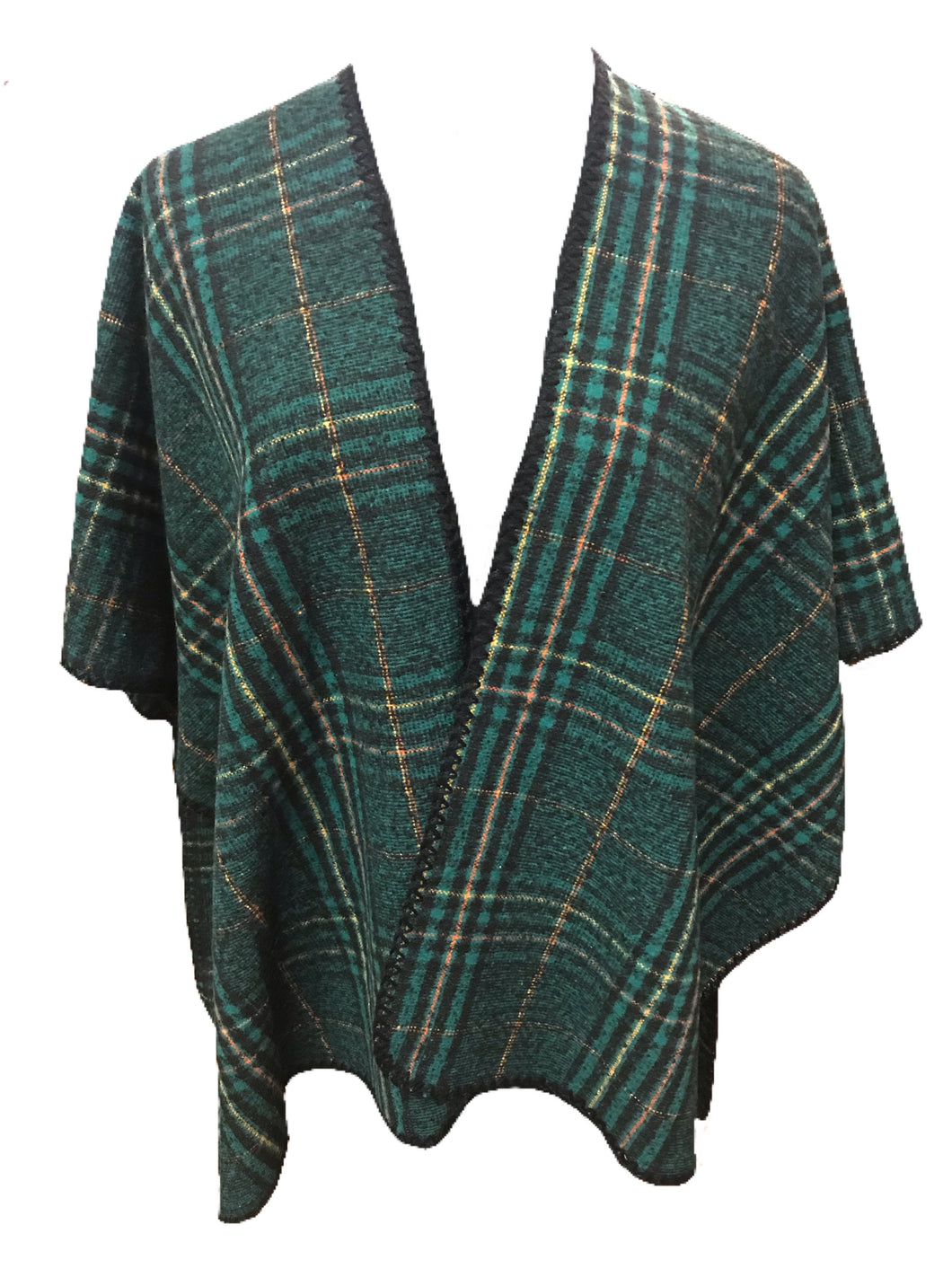 Green Plaid Print Oversized Poncho with Stitched Edges
