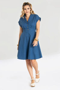 Freddie Blue Collared Button Up Dress