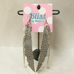 Jagged Strip Leather Earrings with Chain Accent