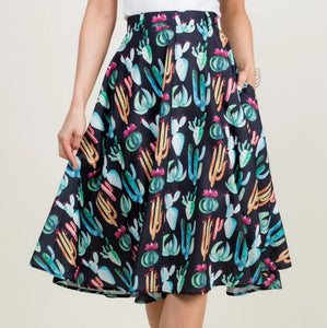 Watercolor Cactus Circle Skirt