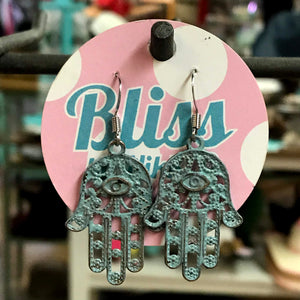 Large Hamsa Hand with Evil Eye Charm Earrings
