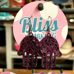 Large Swirly Hamsa Hand Charm Earrings