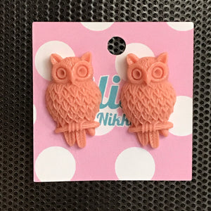 Peach Large Owl Stud Earrings