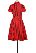 Load image into Gallery viewer, Red with Black Polka Dots Collared Dress- Size Large LAST ONE!