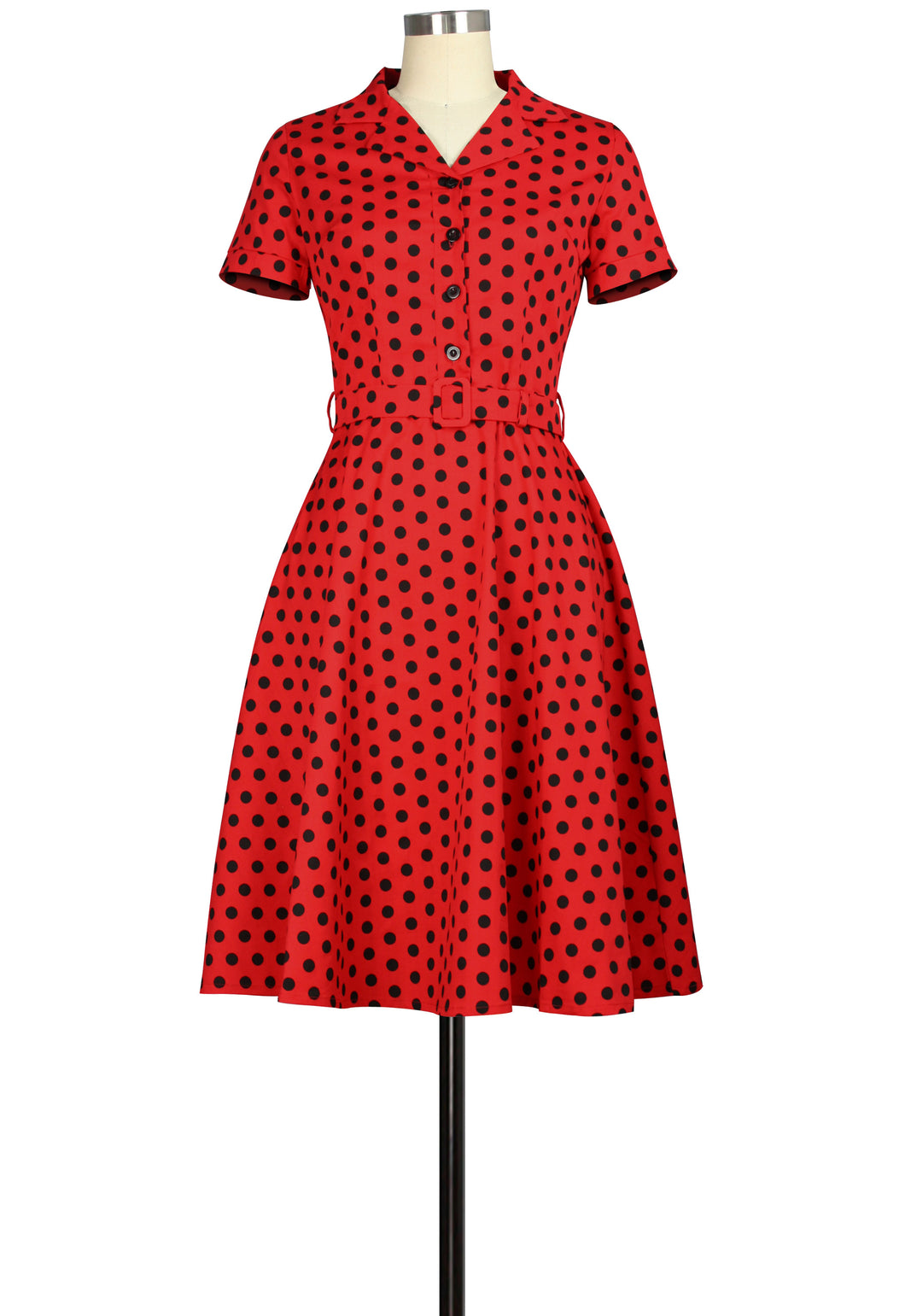 Red with Black Polka Dots Collared Dress- Size Large LAST ONE!