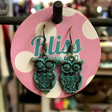 Load image into Gallery viewer, Quilted Owl Charm Earrings