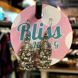 Seated Ganesh Charm Earrings