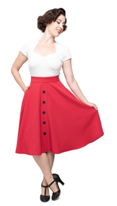 Red with Black Buttons High Waist Thrills Swing Skirt
