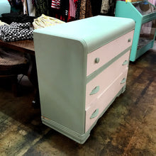 Load image into Gallery viewer, Shabby Chic Teal and White 3-Drawer Dresser