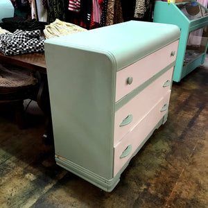 Shabby Chic Teal and White 3-Drawer Dresser