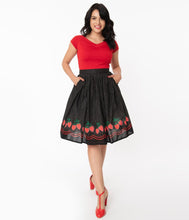 Load image into Gallery viewer, Strawberry Patch Black and White Polka Dot Gellar Skirt
