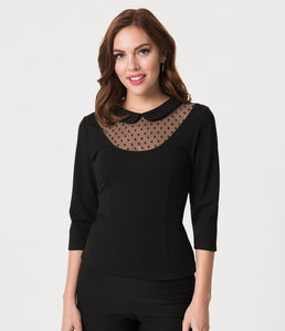 Black Mesh and Swiss Dot Stretch Knit Fitz Top