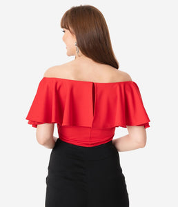 Red Off Shoulder Ruffle Frenchie Top