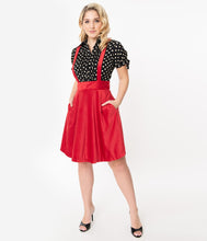 Load image into Gallery viewer, Red Ruth Suspender Flare Skirt