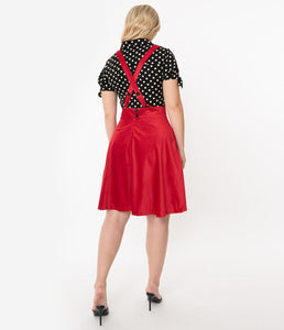 Red Ruth Suspender Flare Skirt