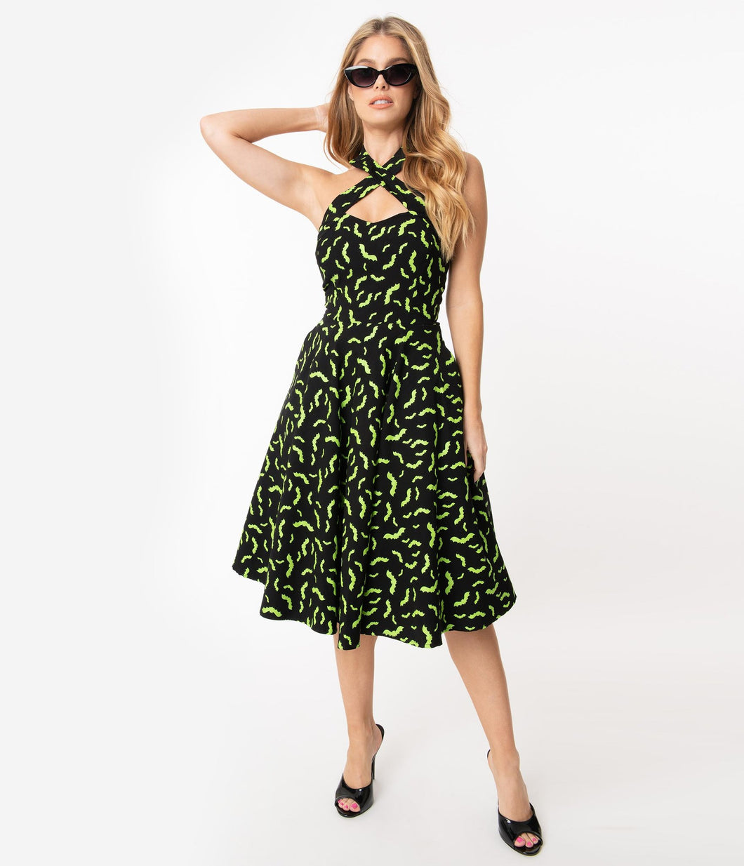 neon green bat dress