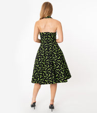 Load image into Gallery viewer, Rita Neon Lime Bats Swing Dress
