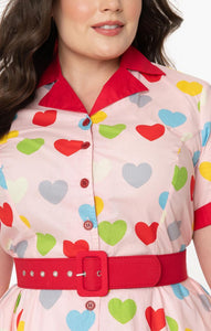 Valentine Heart Print Venus Swing Dress