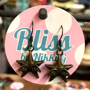 Winged Star Charm Earrings