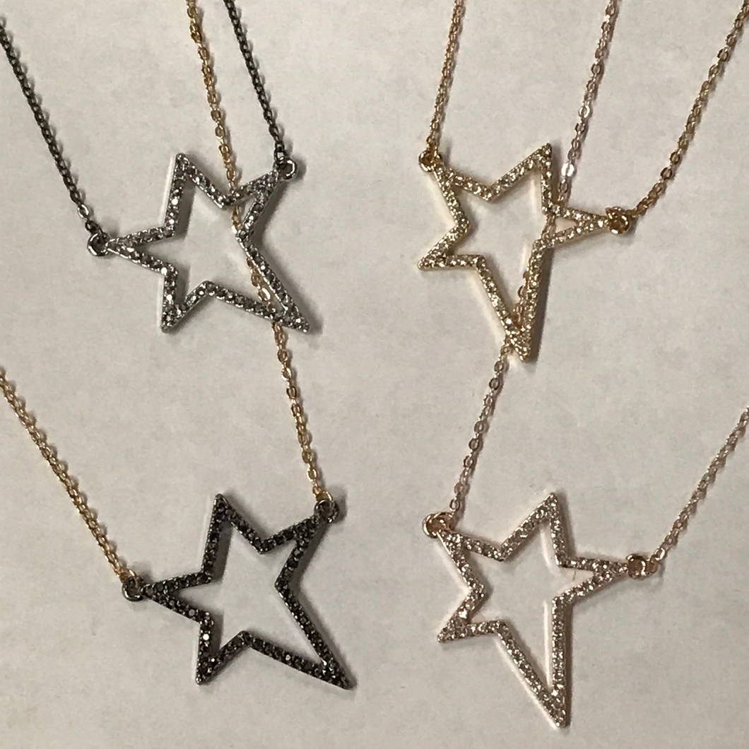 Star Silhouette Dainty Pendant Necklace