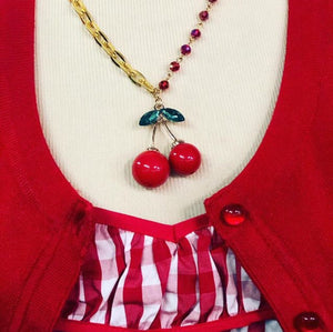 cherry retro necklace