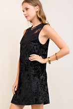Load image into Gallery viewer, Black Lace and Velvet Sleeveless Dress