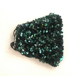 Hunter Green Sequin Face Mask