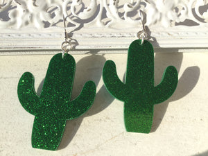 Crystal Cactus Acrylic Statement Earrings