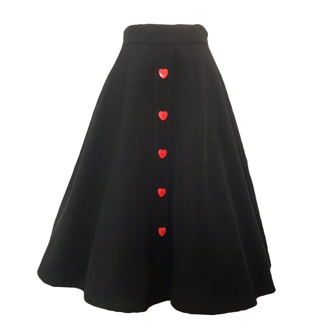 black skirt red heart buttons made in usa
