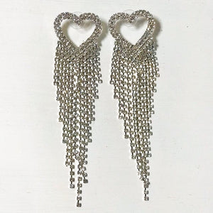 clear crystal heart waterfall earrings