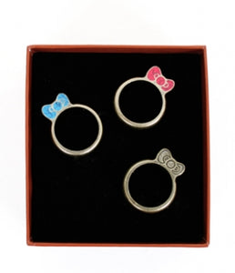 hello kitty stackable bow ring set