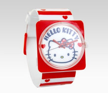 Load image into Gallery viewer, hello kitty red white stripe watch 47880