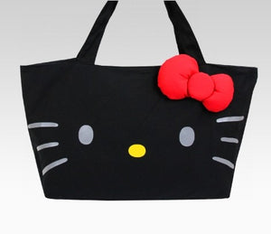 Hello Kitty Black Zipper Tote with Red Stuffed Bow