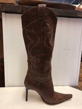 Load image into Gallery viewer, Brown Knee High Cowboy Boots